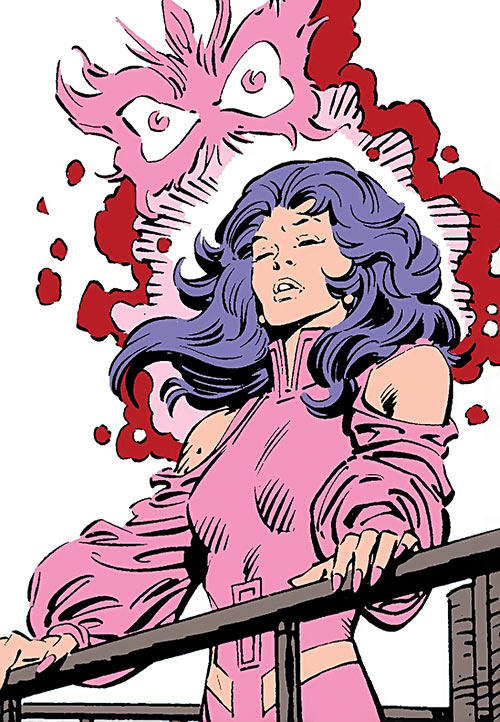 Psylocke of the X-Men (Marvel Comics) using her power with butterfly manifestation
