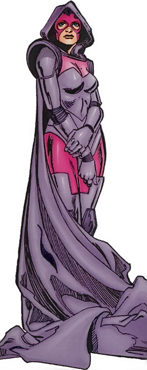 Psylocke of the X-Men (Marvel Comics) in her purple and pink armor