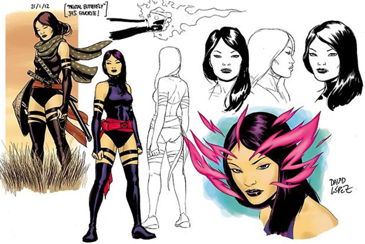 Psylocke model design sheet by David Lopez