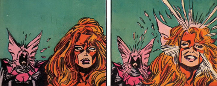 Psylocke establishes psychic contact with Jean Grey