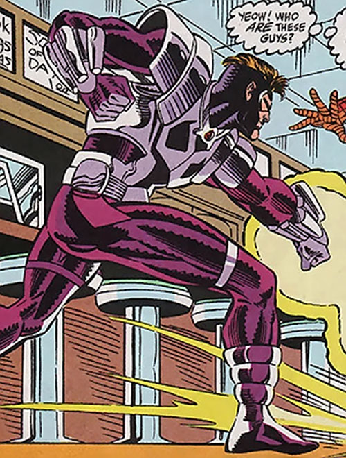 Pulse of the Foreigner Death Squad (Spider-Man enemy) (Marvel Comics) firing a blast