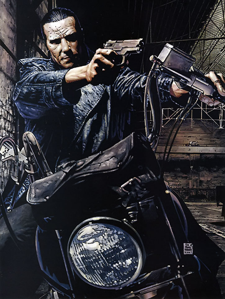 The Punisher on a motorcycle, by Tim Bradstreet