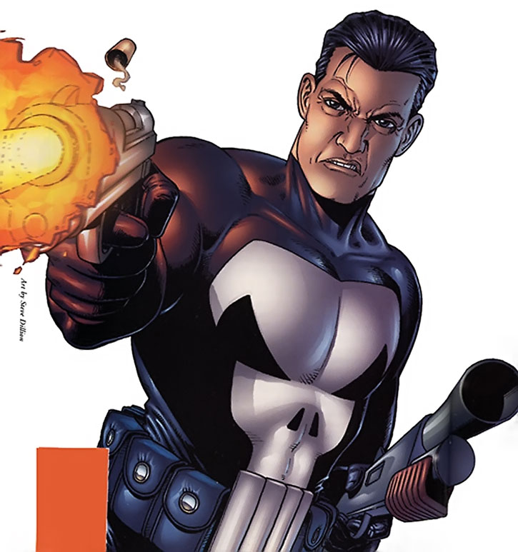 The Punisher with a pump gun and pistol, by Dillon