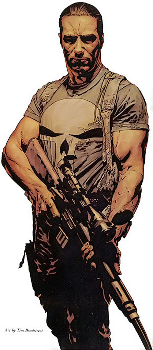 Punisher (Marvel Comics) with a scoped rifle