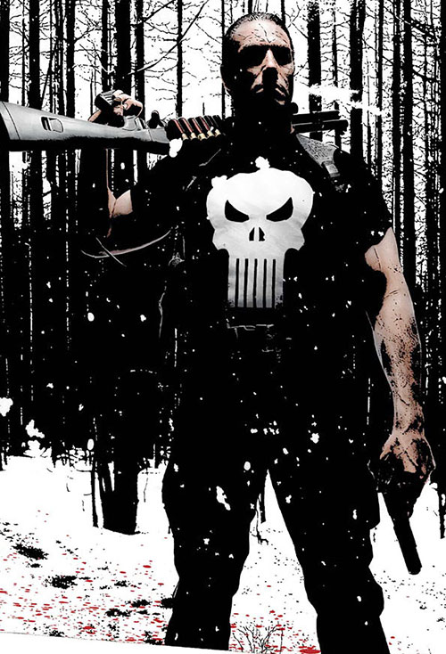 Punisher (Marvel Comics) in the snow with a shotgun and a pistol