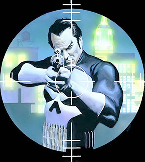 Punisher (Marvel Comics) aiming a rifle