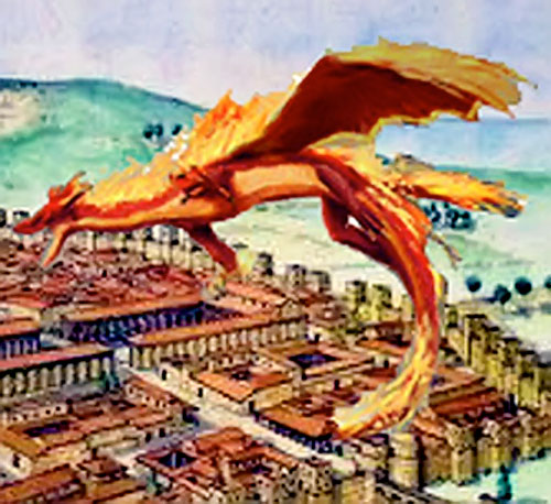 Red dragon flying over a fortified city