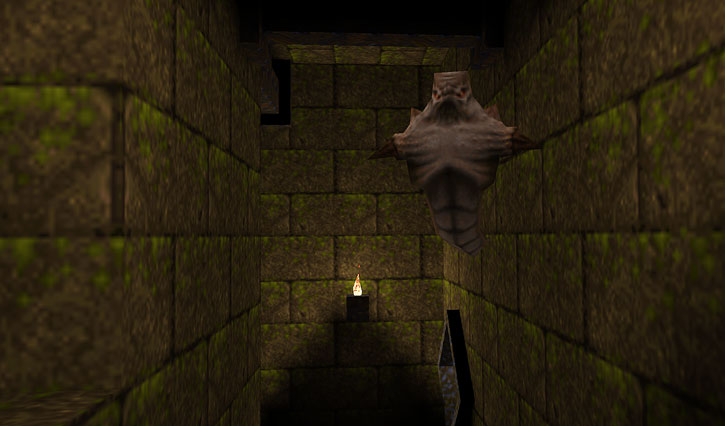 Quake - Scrag floating in a small corridor