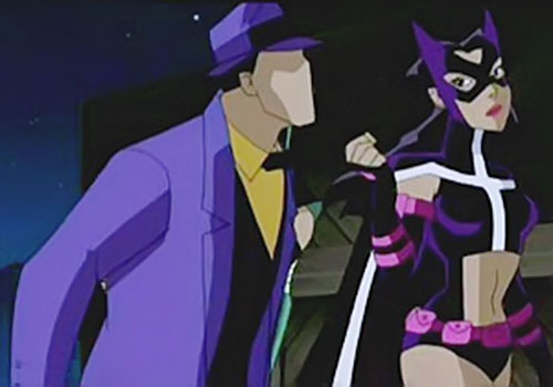 Huntress dragging the Question by his tie (Justice League Unlimited)