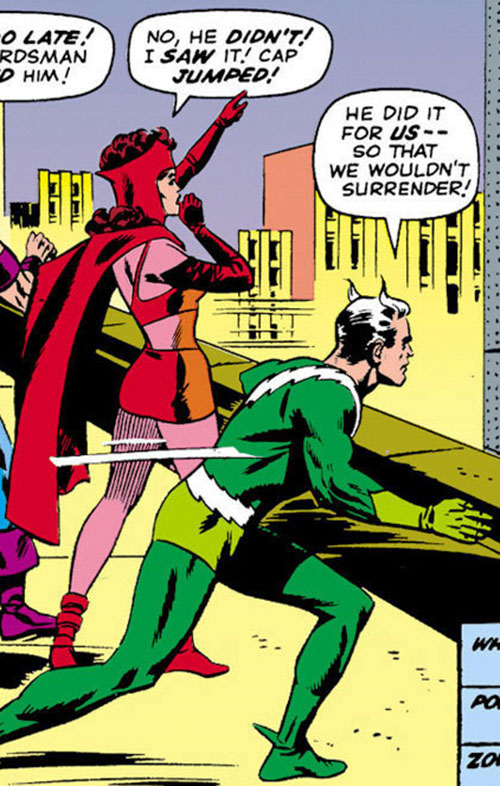 Quicksilver of the Avengers (early Marvel Comics) with the Scarlet Witch and Hawkeye