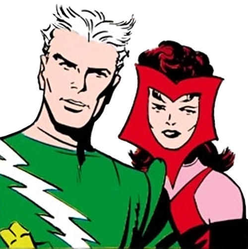 Quicksilver of the Avengers (early Marvel Comics) and the Scarlet Witch vintage costumes