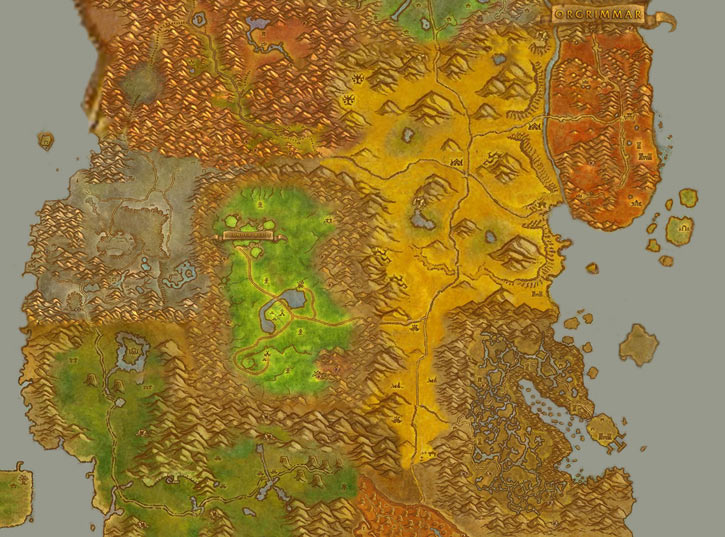 Map of central Kalimdor, with the Barrens - World of Warcraft