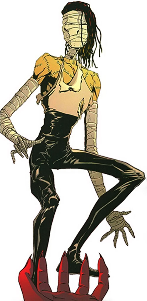 Ragdoll of the Secret 6 (DC Comics) in black leather and a tank top