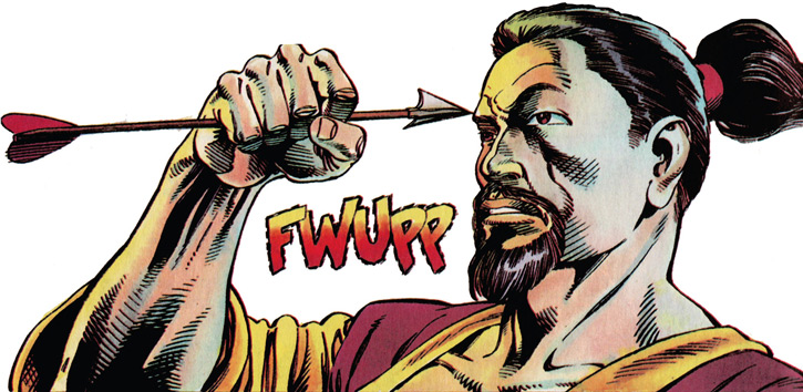 Rai (Valiant Comics 1990s) (Takao Konishi) catching an arrow in front of his face