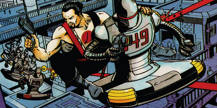Rai (Valiant Comics 1990s) (Takao Konishi) riding a flying robot, chased