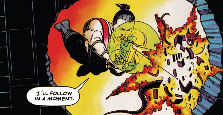 Rai (Valiant Comics 1990s) (Takao Konishi) firing his blaster