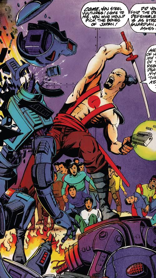 Rai (Valiant Comics 1990s) (Takao Konishi) defending a crowd from robots