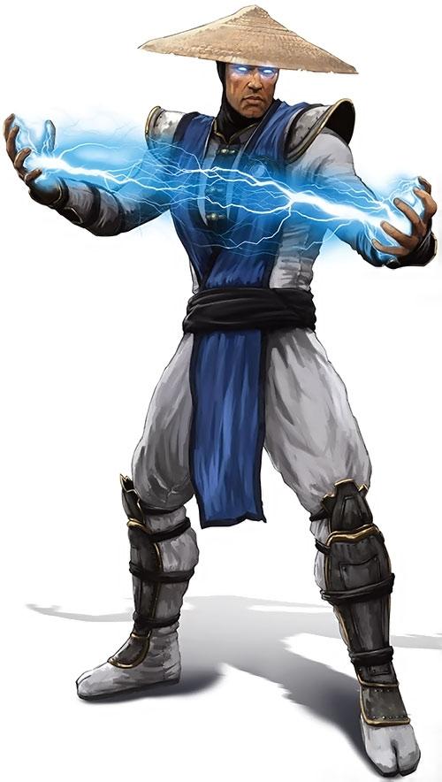 Raiden from Mortal Kombat, doing lightning