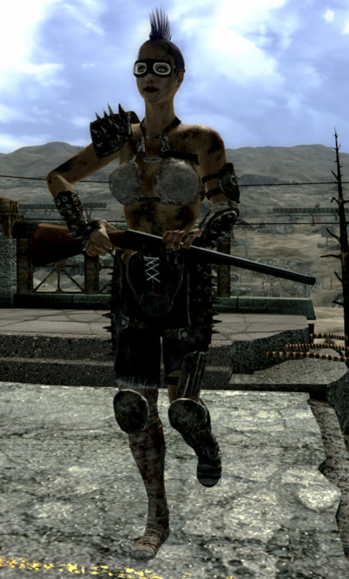 Fallout 3 raider - woman with side-by-side shotgun