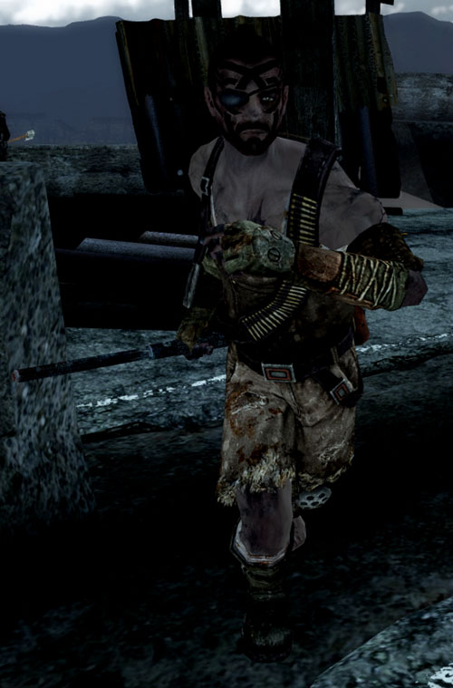 Fallout 3 raider - rushing in with eyepatch and telescopic truncheon