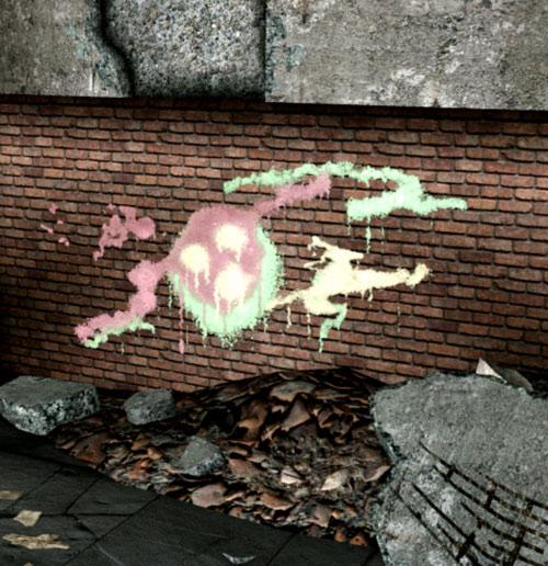 Fallout 3 raider - tag on a wall