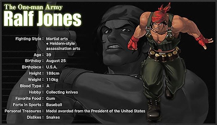 Ralf Jones character details sheet