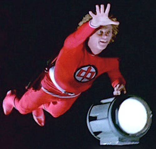 Ralph Hinkley (William Katt in Greatest American Hero) flying at night with a searchlight