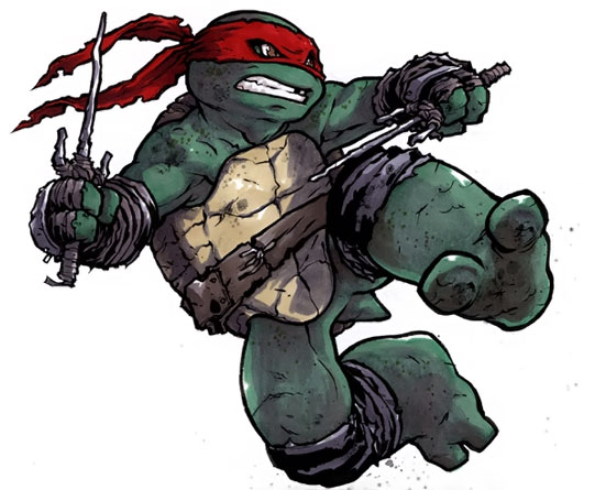 Raphael jumps to the attack with his sai out, on a white background