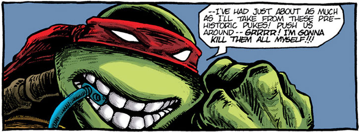 Raphael is very angry, face closeup
