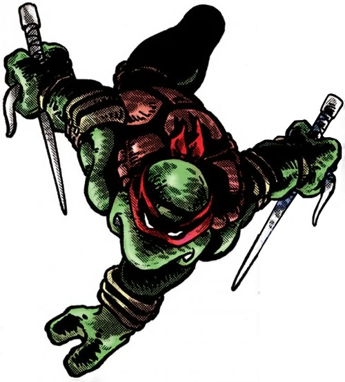 Raphael of the Teenage Mutant Turtles (TMNT comics) diving to attack