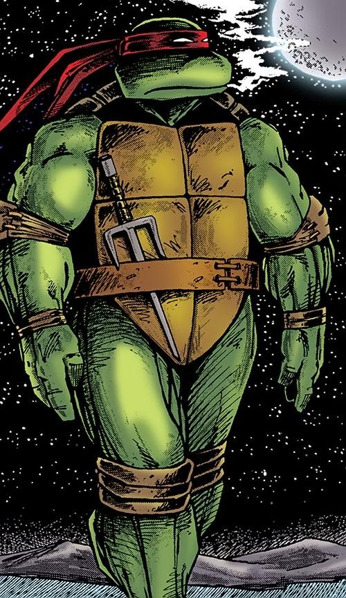 Raphael of the Teenage Mutant Turtles (TMNT comics) walking in the night