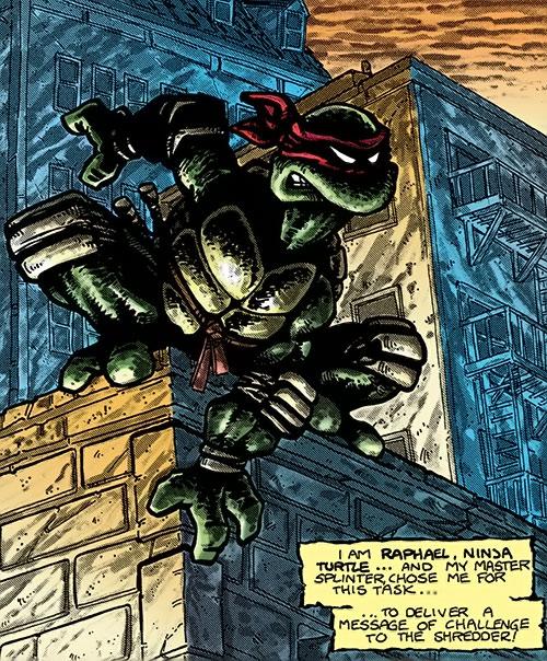 Raphael of the Teenage Mutant Turtles (TMNT comics) posing on a rooftop ledge