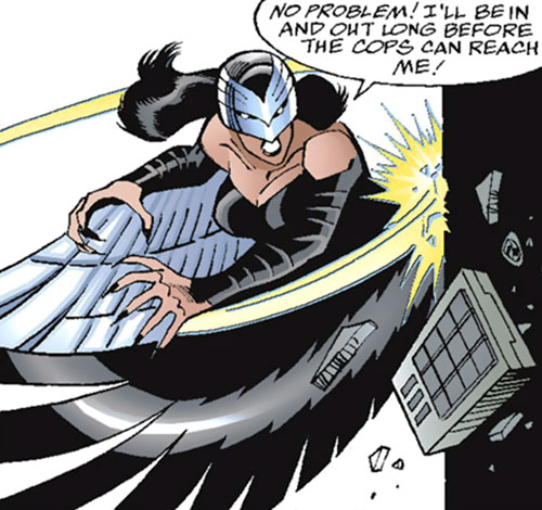 Raptor (Spider-Girl character) (Marvel Comics MC2) (Drago) destroying a device with a wing blow