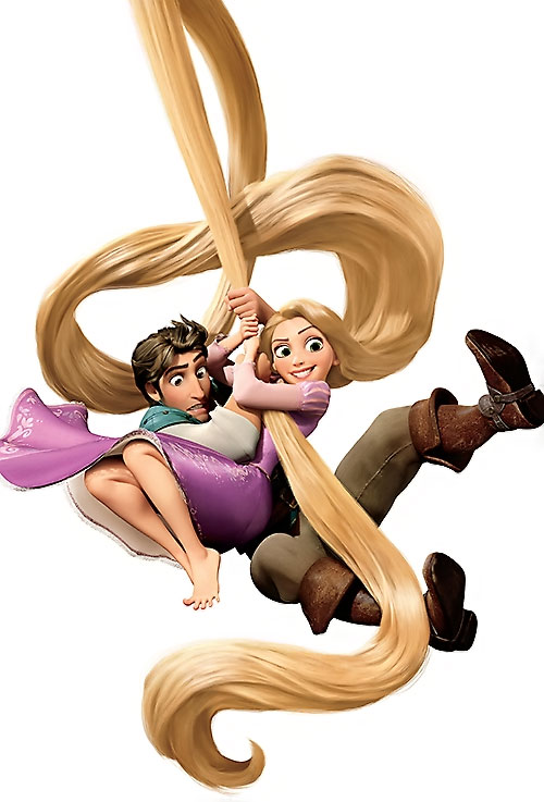Rapunzel (Disney movie) swinging with Flynn