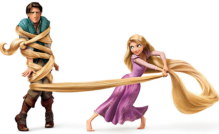 Rapunzel ensnares Flynn Rider using her hair, on a white background