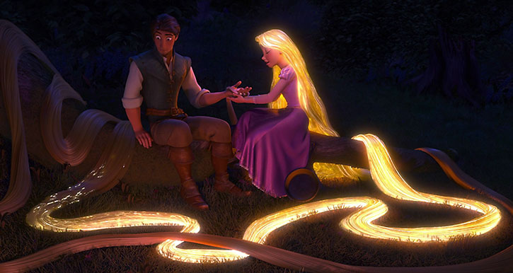 Rapunzel's hair glowing as she heals Flynn Rider