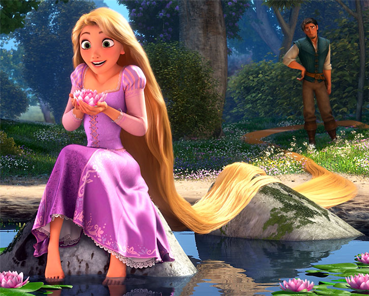 Rapunzel holds a water lilly on a riverside