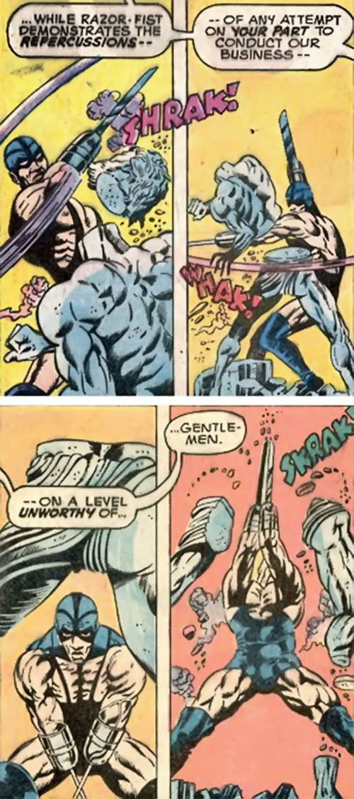 Razor-Fist I (Marvel Comics) demonstrates his blades