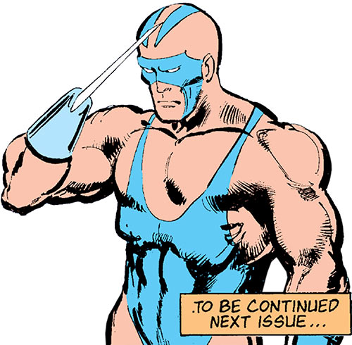 Razor-Fist II (Marvel Comics) saluting with the sky blue costume