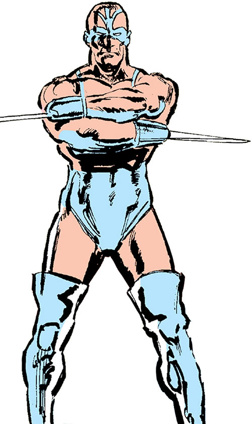 Razor-Fist II (Marvel Comics) with the light blue leotard