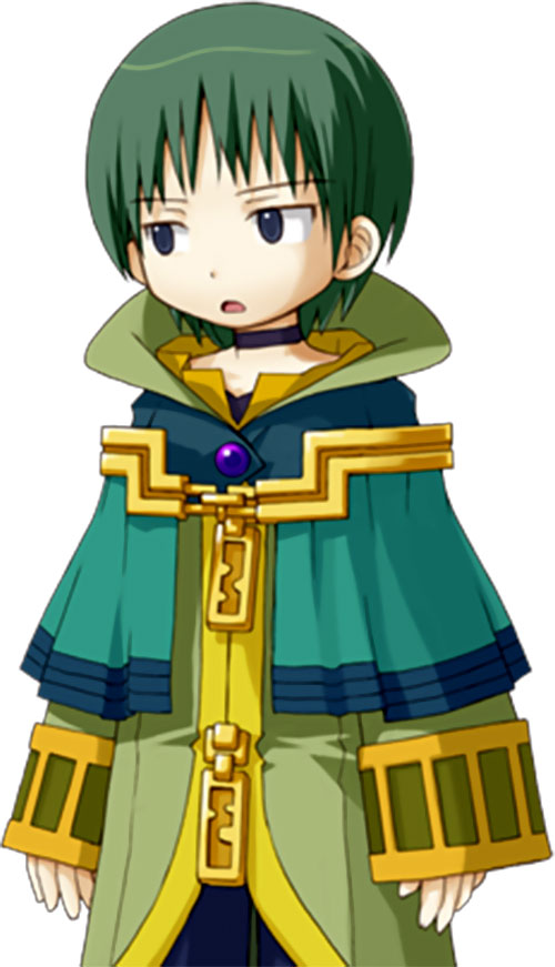 Caillou the mage in Recettear, looking surprised or maybe dubious