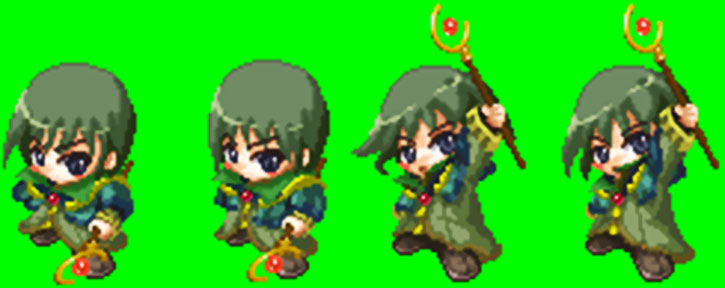 Caillou the mage in Recettear, sprite sheet excerpt