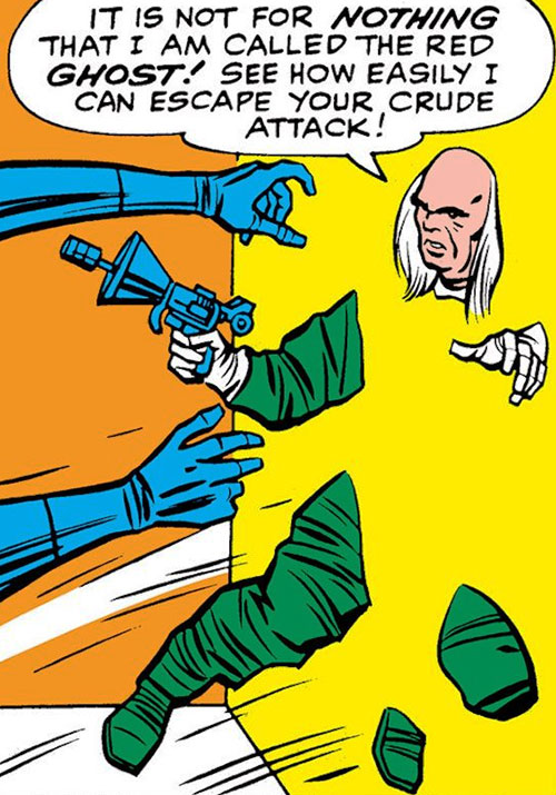 Red Ghost (Marvel Comics) evading Mister Fantastic through a wall