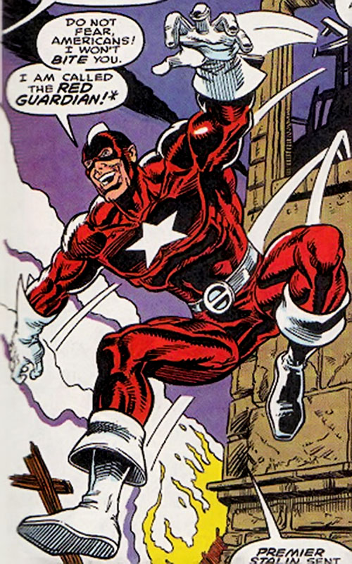 Red Guardian (Lebedev) (Marvel Comics) with the red and white finned costume