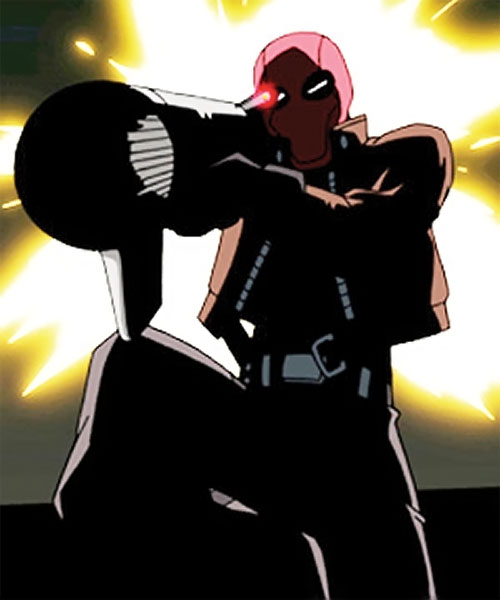Red Hood (Batman animated movie) with a rocket launcher