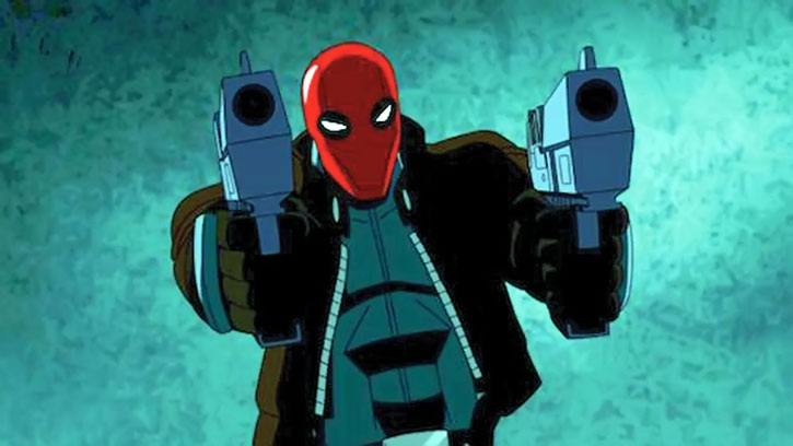 The Red Hood (Jason Todd) dual-wielding large pistols