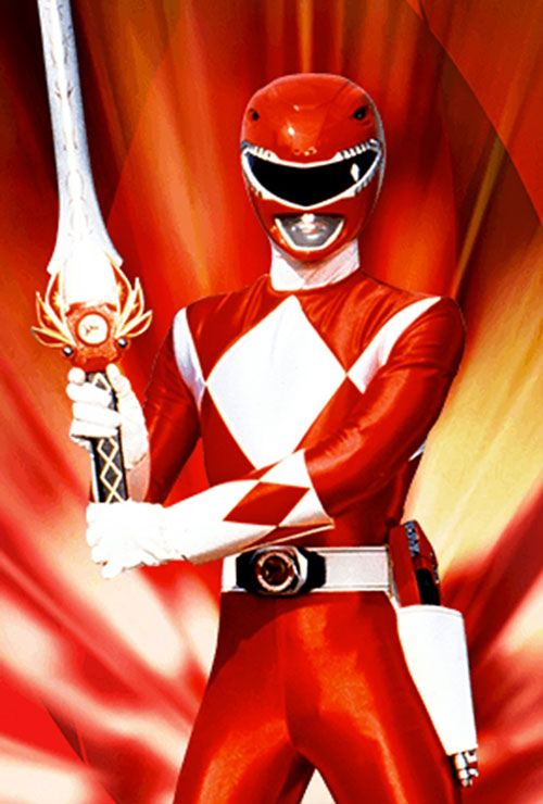 Red Ranger (Jason) of the Mighty Morphin Power Rangers with his sword