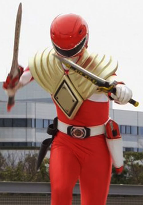 Red Ranger (Jason) of the Mighty Morphin Power Rangers with both sword and dagger