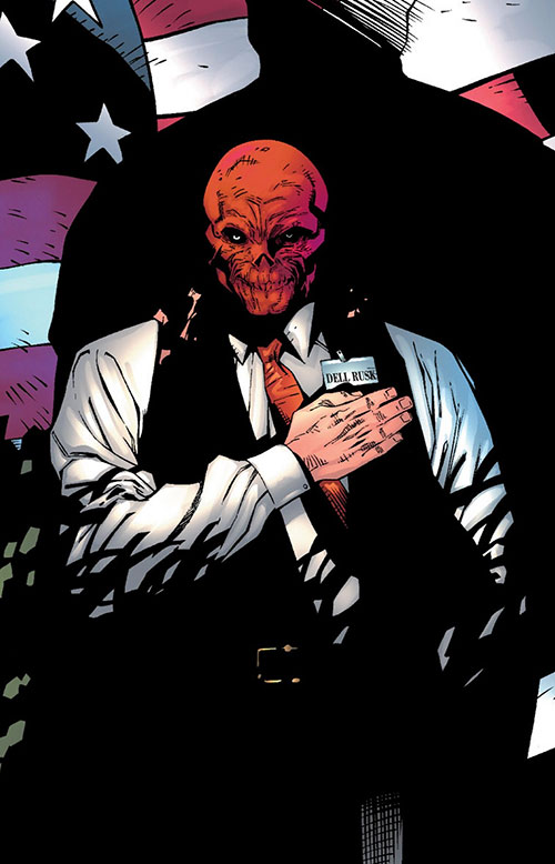 Red Skull (Captain America enemy) (Marvel Comics) as Dell Rusk, US flag, business suit