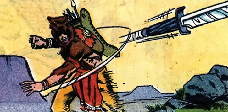 Red Wolf (William Talltrees) throws a knife
